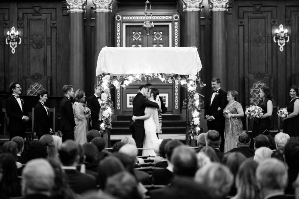Wedding ceremony photo at Rodef Shalom Temple in Pittsburgh