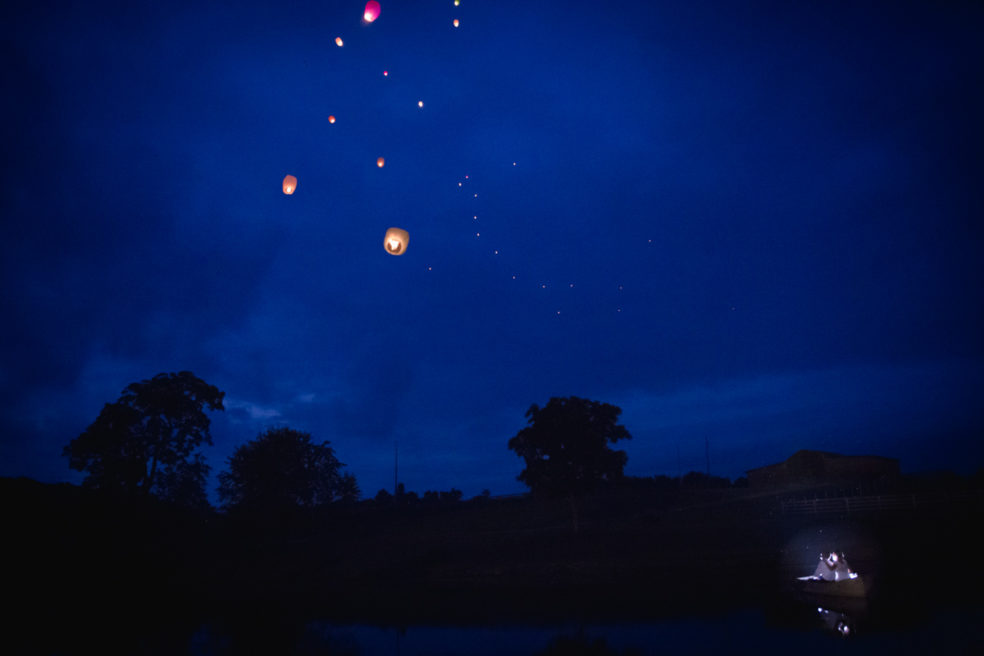 Lantern release wedding reception photos at Lingrow Farm