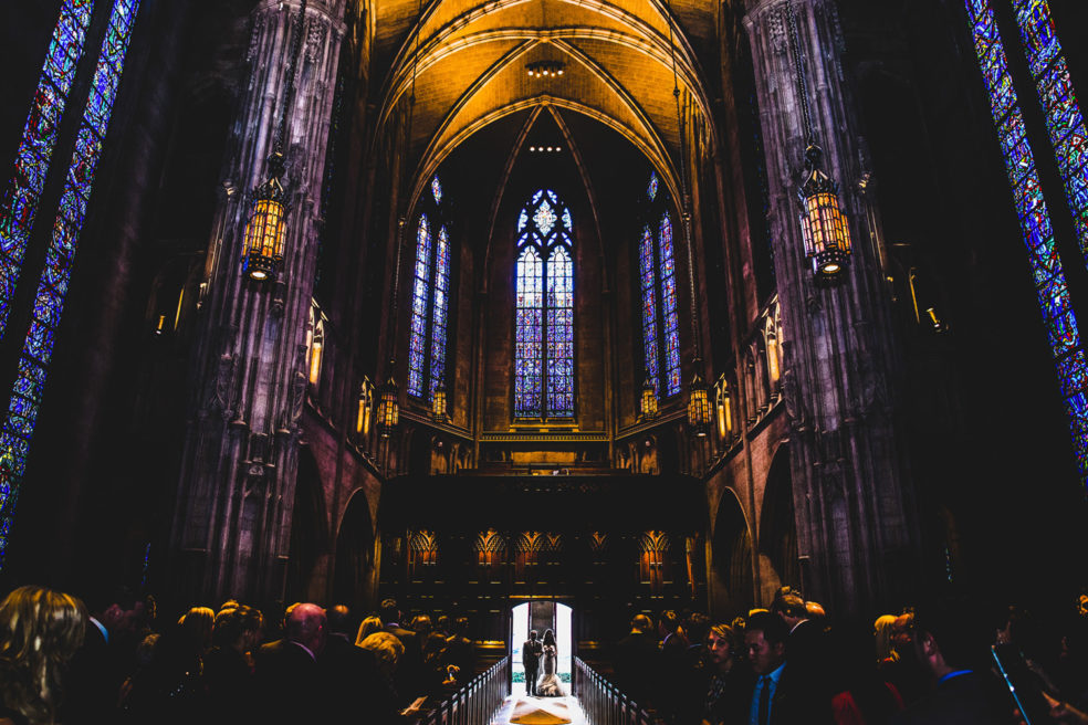 Wedding ceremony photo at Heinz Chapel in Oakland/Pittsburgh