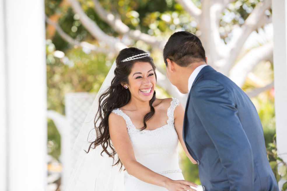 First look wedding photos at the Newport Dunes Waterfront Resort in Newport Beach, CA
