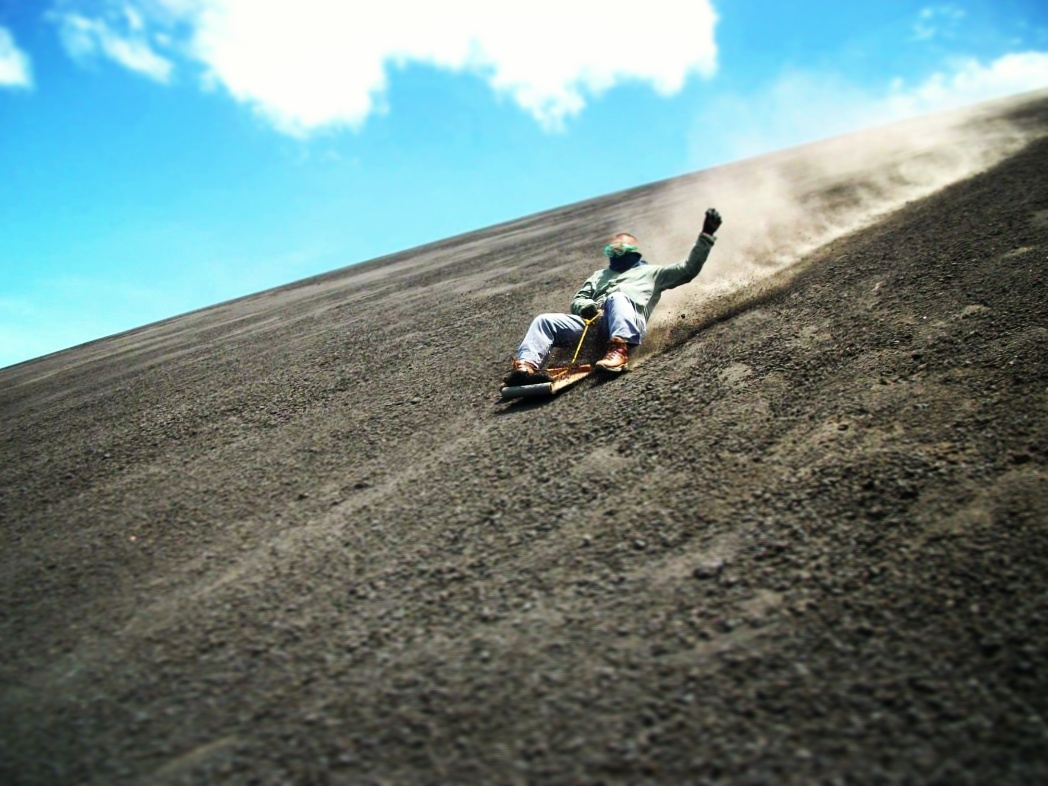 Manny sand boarding down an active volcano in Nicaragua!