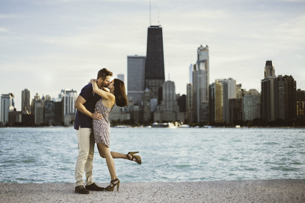 Engagement photo at North Avenue Beach in Chicago