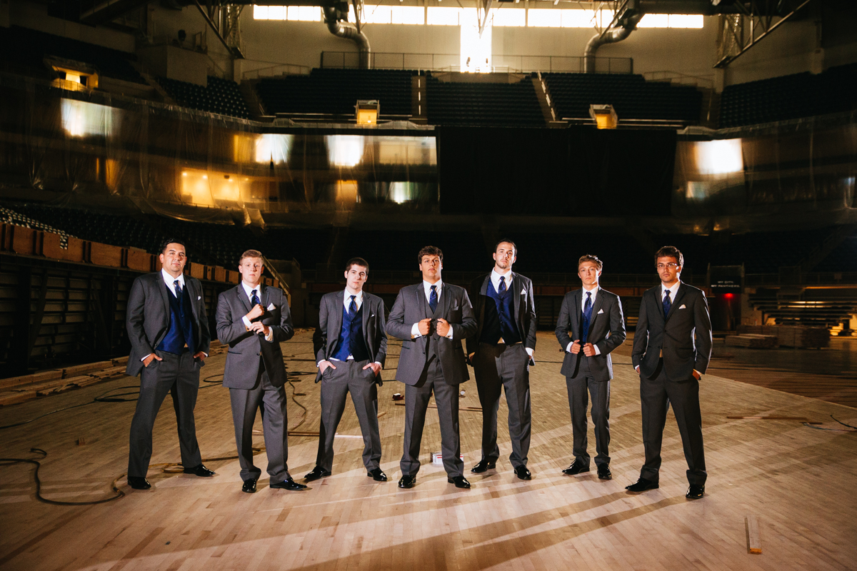 wedding-photos-at-petersen-event-center-oakland-pittsburgh-groom-and-his-groomsmen-men-locker-room-and-court