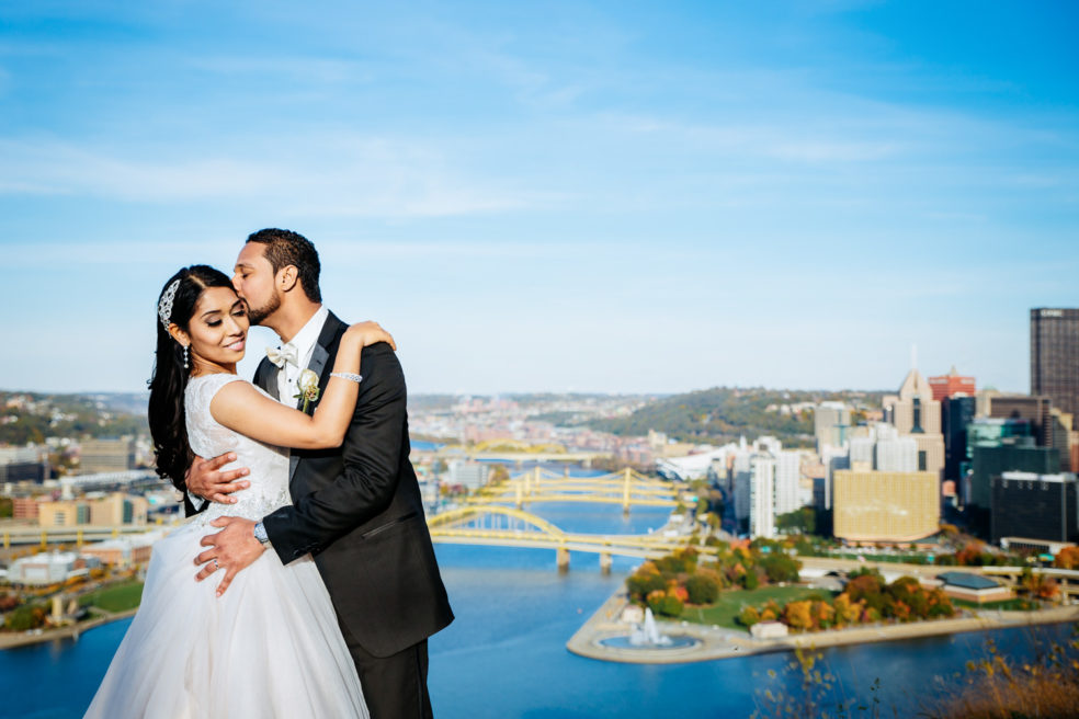 Wedding photos on Mt Washington with reception at nearby LeMont Restaurant