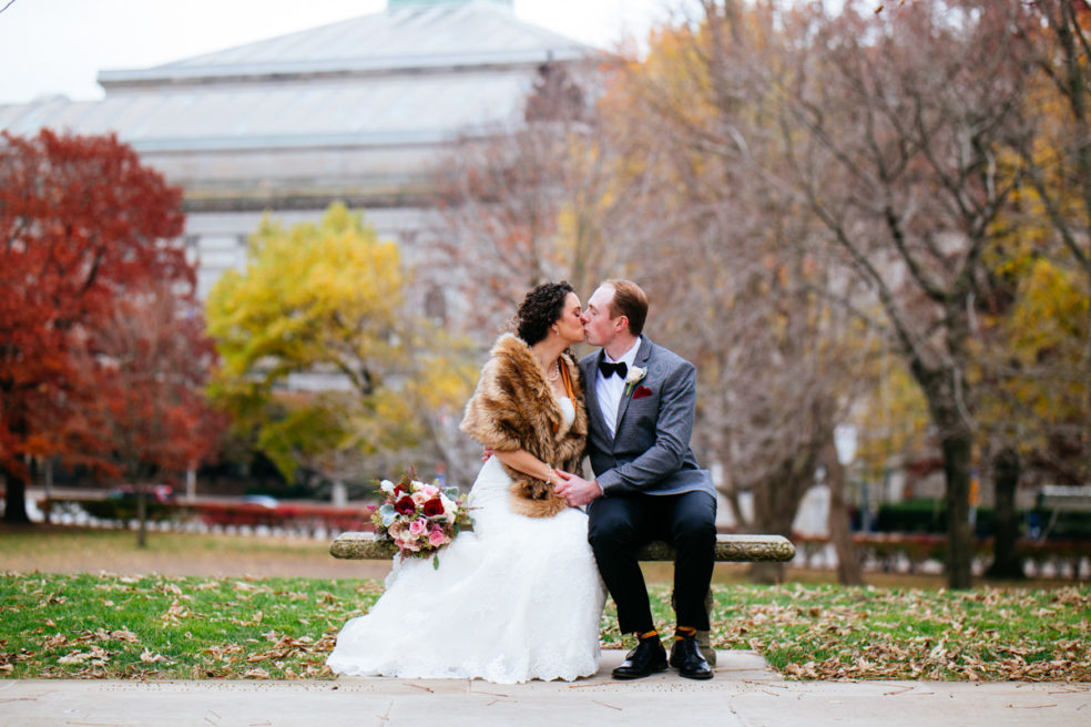 Wedding portrait photos at Cathedral of Learning in Oakland and University of Pittsburgh Campus