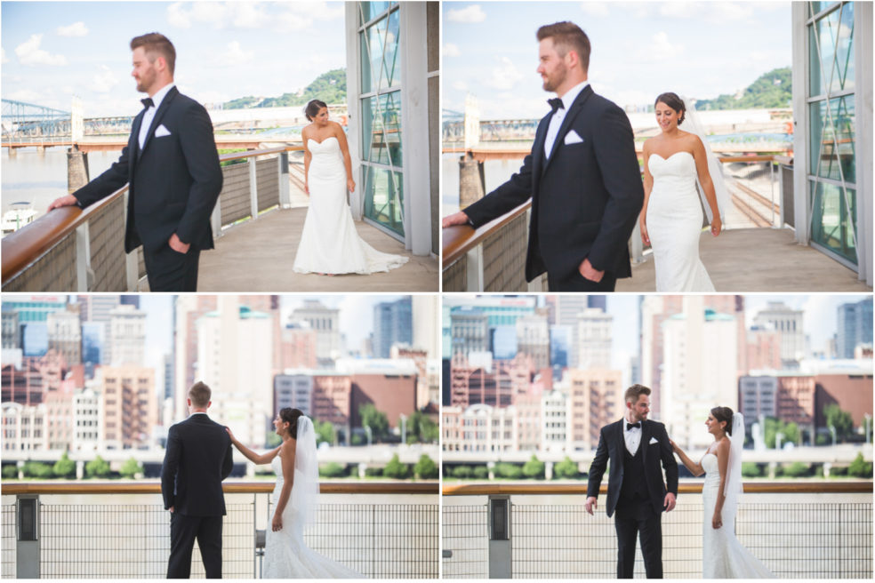Wedding photos first look at Station Square in Pittsburgh!